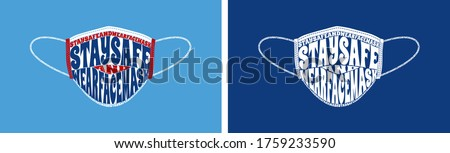 Stay Safe and wear face mask text wrap vector illustration, isolated on red, blue, and white color scheme.