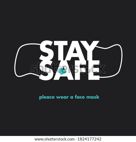 Stay safe, stay home. Prevent coronavirus infection. Social advertising, poster, sticker, vector.