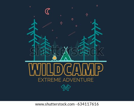 Stay Wild Camping Child ,Hand Drawn t Shirt Print,camping and adventure forest badge logo, emblem logo, label design. Vector illustration,Typographic Design