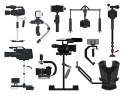 Steadicam vector video digital camera professional film equipment stabilizer illustration set of photographer videographer movie technology production isolated on white background