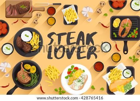 steak   food illustration in