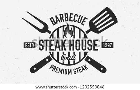 Steak House, barbecue restaurant logo, poster. BBQ trendy logo with barbecue grill , spatula and grill fork. Vector emblem template.