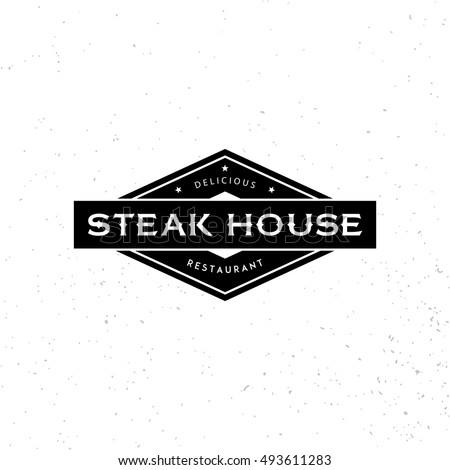 Steak House logo design template. Vector retro black and white meat dishes logotype illustration. Graphic grill BBQ label, emblem, symbol. Premium beef restaurant badge