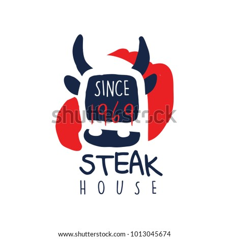 Steak house logo template since 1969, vintage label colorful hand drawn vector Illustration