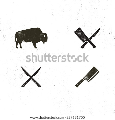 Steak House vintage symbols. Letterpress effect. Vector bbq elements for retro logos, emblems