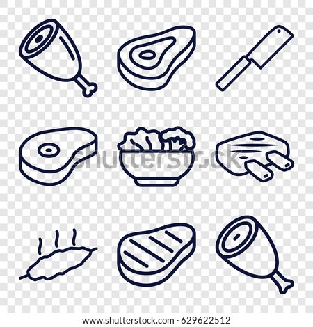 Steak icons set. set of 9 steak outline icons such as beef, food, meat