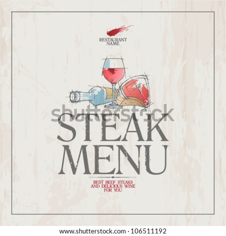 Steak Menu Card Design template. - stock vector