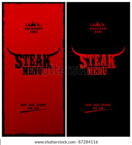 Steak Menu Card Design template.