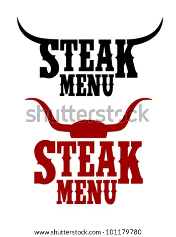 Steak Menu signs set.