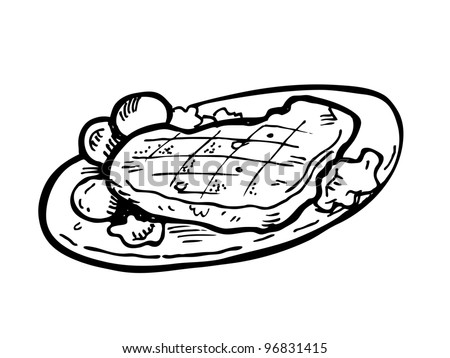 steak on a plate doodle