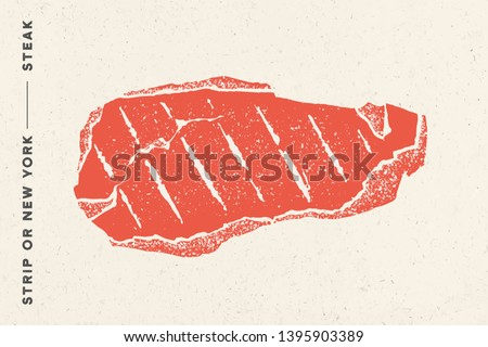 Steak, Strip or New York. Poster with steak silhouette, text Strip, NY, New York, Steak. Logo typography template for meat business, shop, market, restaurant menu. Vector Illustration