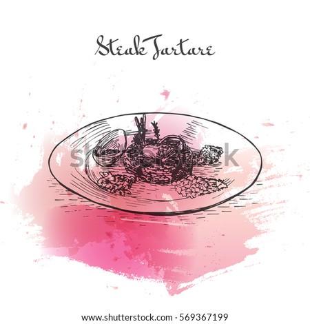 steak tartare watercolor effect