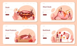 Steak web banner or landing page set. People cooking tasty grilled meat on the plate. Delicious barbecue beef. Roasted restaurant meal. Isolated vector illustration in cartoon style