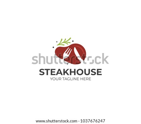 Steak with rosemary logo template. Steakhouse vector design. Beefsteak illustration