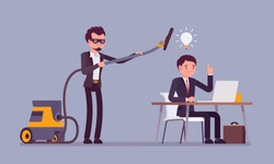 Stealing business bright ideas. Man in mask with vacuum cleaner sweeping with tube brains, thoughts of creative worker, using without permission or legal right. Vector flat style cartoon illustration