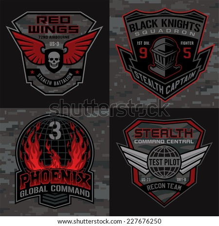 stealth pilot military patch set