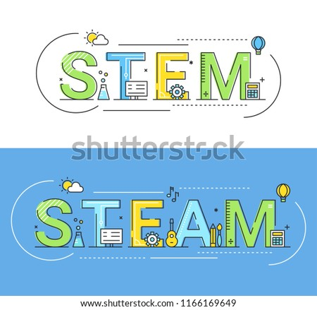 Steam and Steam Education Approaches Concept Vector Illustration.