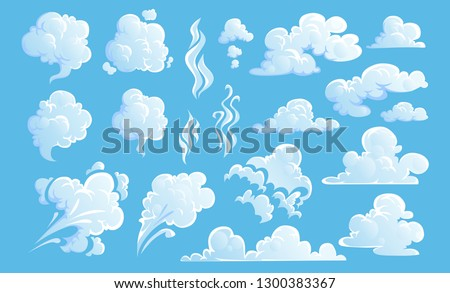 Steam clouds set. White cartoon sky and steam clouds on blue background. Vector illustration