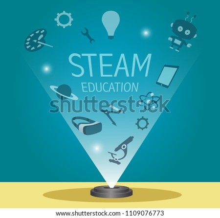 STEAM education banner - hologram with Science, Engineering, Math, Art and Technology elements