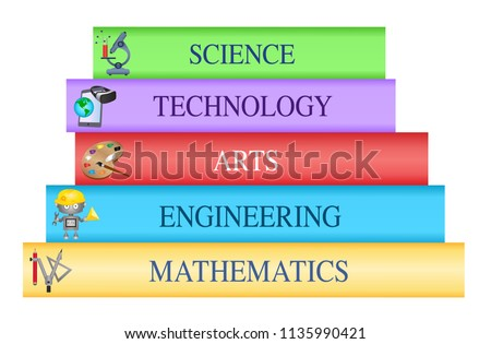 STEAM Education subjects- Stack of books