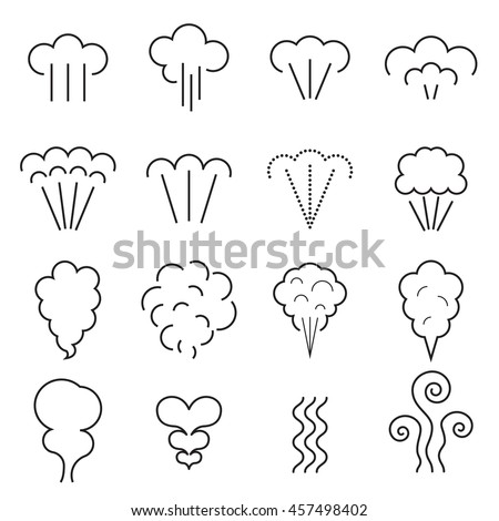 Steam icons. Linear symbols isolated on a white background. Vector illustration