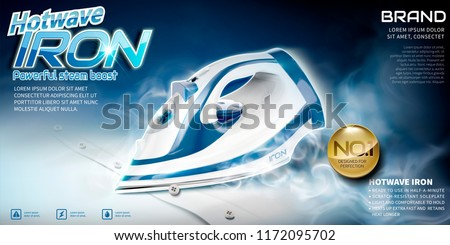 Steam iron advertisement, ironing shirt with high temperature in 3d illustration
