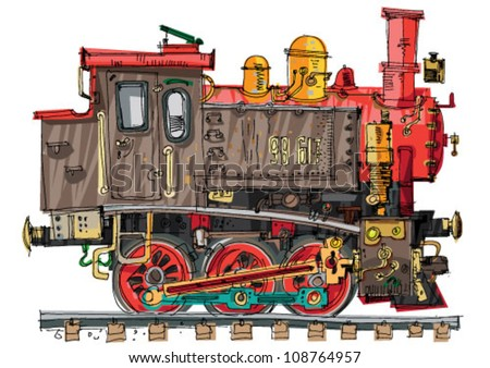 steam locomotive - cartoon