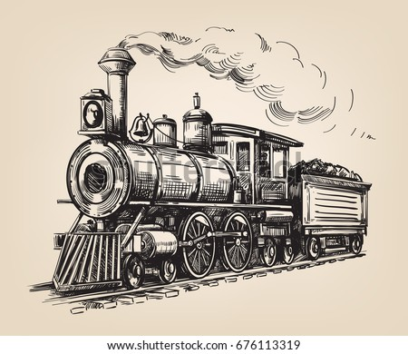 Steam locomotive transport. Hand drawn vector illustration