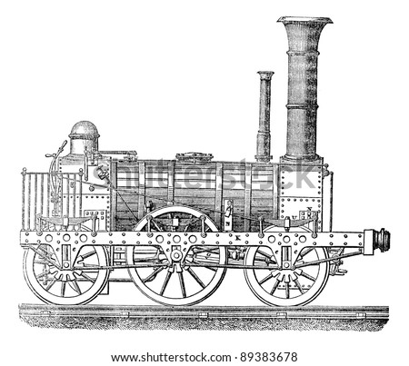 Steam locomotive, vintage engraved illustration. Industrial encyclopedia E.-O. Lami - 1875.