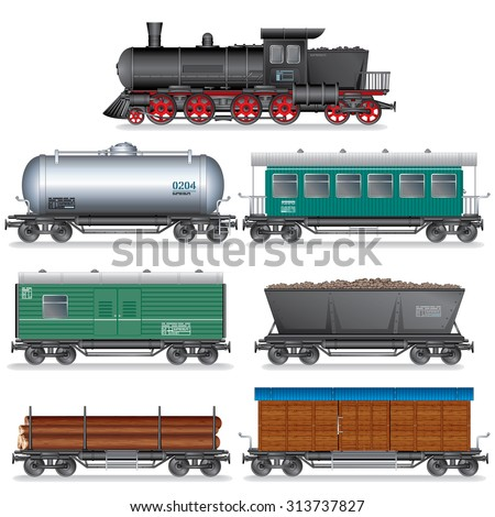 steam locomotive with various