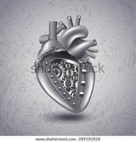 steam punk metal heart with