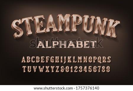 steampunk alphabet font 3d