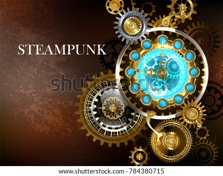 Steampunk composition of unusual antique watches gold and brass gears on a brown rusty background.