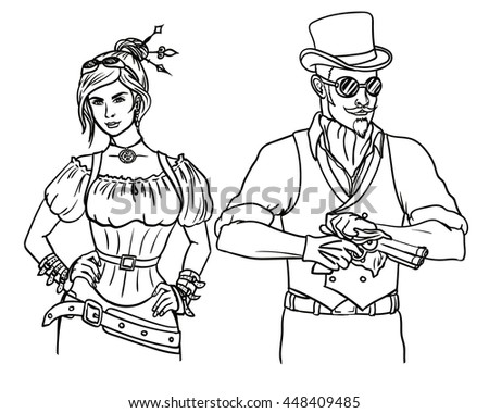 steampunk couple black and