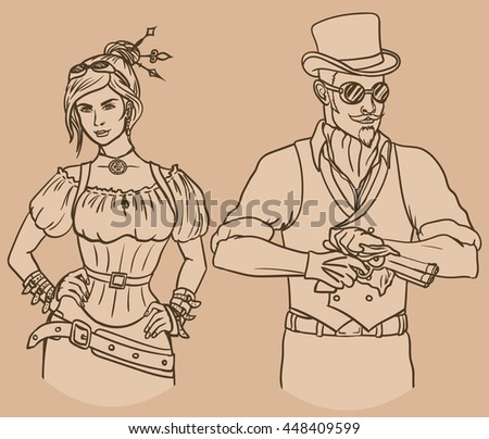 steampunk couple vector