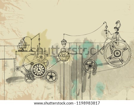 Steampunk engine. Character in steampunk style. Man with a clock. Science. Scientist. Wizard. Magic. Fantasy. Vector hand drawn illustration. Vintage card