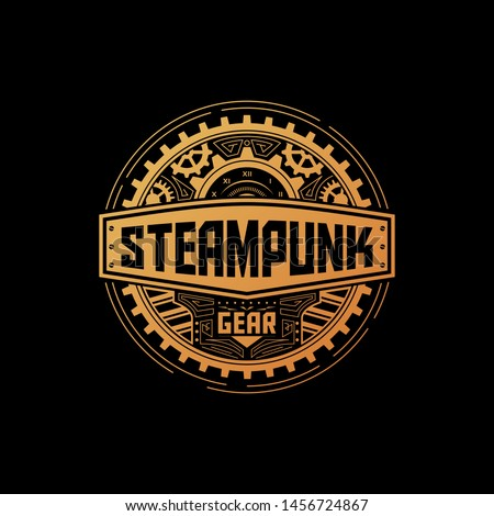 steampunk gear circle badge