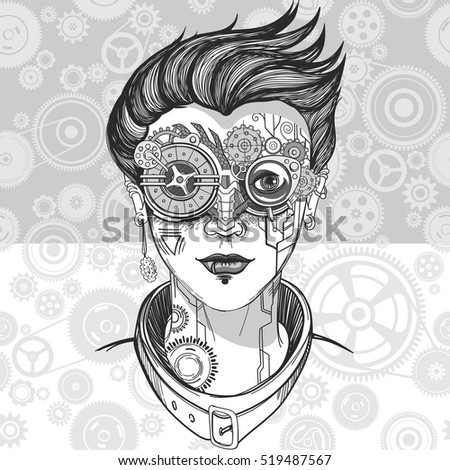 steampunk girl  monochrome