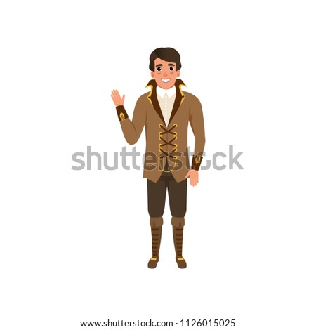 steampunk guy waving hand man
