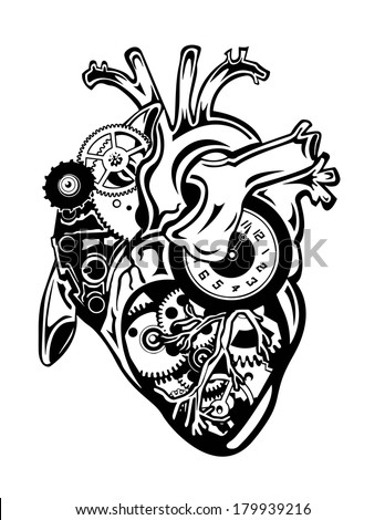 steampunk human heart with