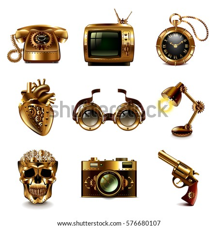 steampunk icons detailed photo