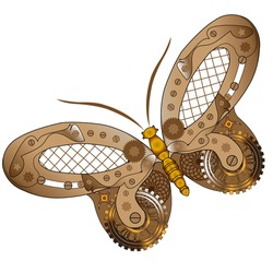 Steampunk illustration. Fantasy mechanical  butterfly with gear wheels and cogs. Collage in steampunk style.