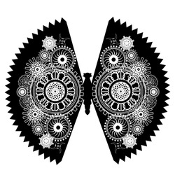 Steampunk illustration.Mechanical butterfly with gear wheels.   Collage in steampunk style. Can by used  for sticker, print and decoration.