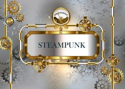 Steampunk industrial banner with an antique manometer and metal pipes on gray concrete background.
