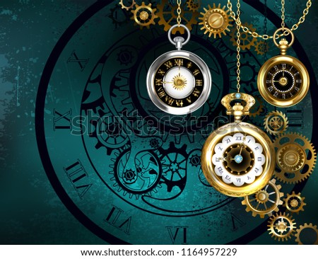 Steampunk jewelery, antique clock with gold chains on green textured background.