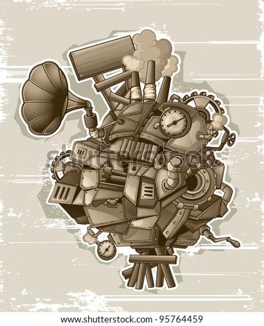 Steampunk mechanism grunge