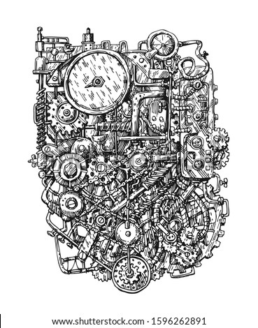 Steampunk mechanism print. Hand drawn vector illustration with mechanical elements