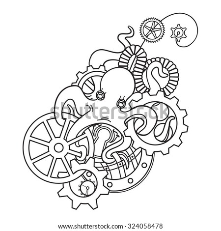 steampunk octopus with gears