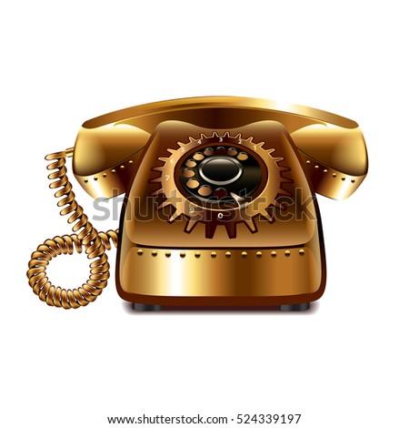 steampunk retro phone isolated