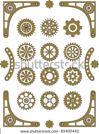 Steampunk, set of retro styled gear wheels